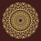 Elegant vintage vector golden round ornament in classic style. Abstract traditional pattern with oriental elements. Classic vintage pattern - 231018352