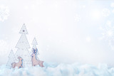 White wooden tree with reindeer on snow and copy space with snowflakes - 231020319