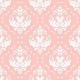 Classic seamless vector pattern. Damask orient pink and white ornament. Classic vintage background. Orient ornament for fabric, wallpaper and packaging - 231026980