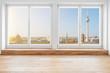 Leinwandbild Motiv  Berlin skyline through terrace windows - modern penthouse apartment  room