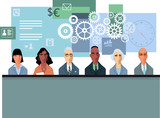 Corporate training conceptual illustration with business people at the lecture, EPS 8 vector illustration - 231034187