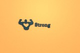 Text Strong with blue 3D illustration and orange background - 231040785