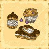 Vintage color card. Desserts. Blueberry muffin, profiterole and eclairs. Engraving style. Vector illustrastion. - 231044524