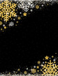 Black christmas background with frame of golden and silver glittering snowflakes, vector illustration