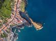 Top view of Ponta Delgada coast, San Miguel island, Azores, Portugal.