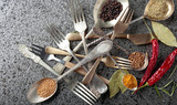 Herbs and spices in different spoons on a metal table. - 231054100