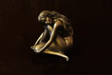 Collecting. Hobby. Rare bronze statuette of a girl with flowing hair on a dark background. - 231054393