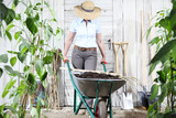 woman work in vegetable garden with wheelbarrow and pitchfork, set of equipment tools on wooden wall background, healthy organic food produce concept - 231057566
