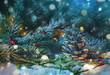 Leinwanddruck Bild - Weihnachtlicher Hintergrund Natur - Tannenzweige mit Zapfen im Schnee