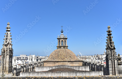 View from Giralda to the Cathedral of Saint Mary of the See, Seville Cathedral in Seville, and the cityscape. Andalusia, Spain