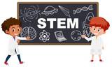 Boy showing STEM icon - 231094538