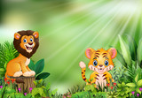 Cartoon of the nature scene with a lion standing on tree stump and tiger