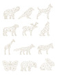 Set of Geometric Animals. Drawings of Animals in Vector
