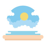 beach seascape scene icon - 231110971