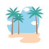 beach seascape scene icon - 231110993
