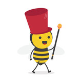 vector illustration character cartoon design cute honey yellow bee mascot leader music holding sceptre with in white background