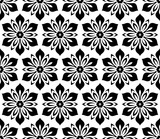 Floral black and white ornament. Seamless abstract classic background with flowers. Pattern with repeating floral elements - 231120954