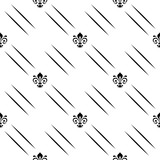 Seamless black and white pattern. Modern geometric ornament with royal lilies. Classic vintage background - 231122518