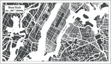 New York USA City Map in Retro Style. Outline Map. poster