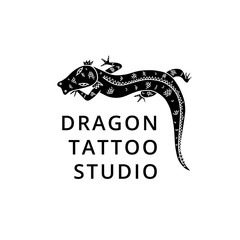 Dragon silhouette logo for tattoo studio