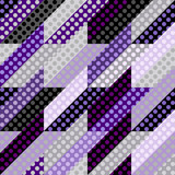 Seamless geometric lilac pattern. Classic polka dot pattern in a patchwork collage style. Vector image.