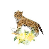 Retro style Illustration with flowers and animal - 231129569