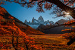 Leinwanddruck Bild - Beautiful autumn view Fitz Roy mountain. Patagonia, Argentina