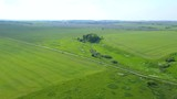 Flying over green field with horizon on summer day - 231134999