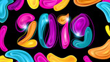 2019 New Year Card Design on Black Background - 231136304