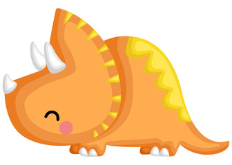 a cute baby triceratops looking left