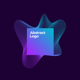 Abstract Vector Blend Logo Template. Elegant Curved Lines with Square Frame and Violet Blue Gradient. Dark Background - 231139733