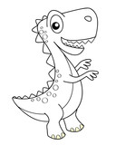 Cute cartoon dinosaur. Dino. Black and white vector illustration for coloring book