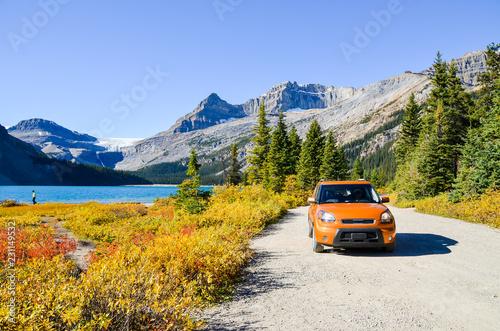 秋のカナディアンロッキー 紅葉のボウ・レイク湖畔(バンフ国立公園 カナダ・アルバータ州)