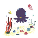 Vector image of an octopus in the center with algae, shells, jellyfish, fish and air bubbles. Used for logo, window dressing, flyer or discount card and for an animal store