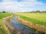 Polder landscape with pasture and ditch near Workum, Friesland, Netherlands - 231153968