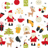 Merry Christmas seamless pattern with cute holiday elements. Vector hand drawn illustration.  - 231155398