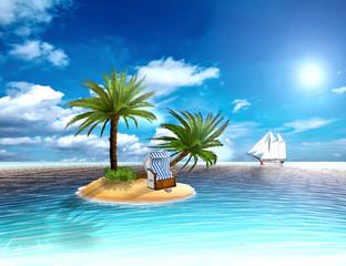 Strandkorb mit Palmen und Segelschiff auf einer einsamen Insel