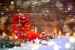 Leinwanddruck Bild - Weihnachtsgeschenke mit Gruß - Weihnachten Geschenke rot