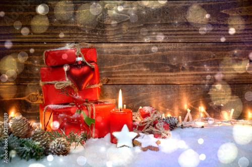 Leinwanddruck Bild Weihnachtsgeschenke mit Gruß - Weihnachten Geschenke rot