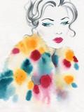 beautiful woman. fashion illustration. watercolor painting - 231173180