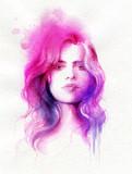 beautiful woman. fashion illustration. watercolor painting - 231173318
