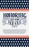 Happy Veterans day. Hand lettering background. Vintage vector illustration