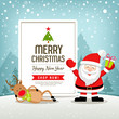 Merry Christmas banners sale santa claus and reindeer design on snowflake blue background, vector illustration - 231176130