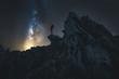 Wanderer bei Nacht auf einem Berg