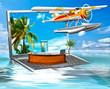 mach mal Urlaub. Laptop auf dem Wasser mit Rezeption und Wasserflugzeug