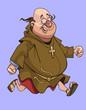 cartoon cheerful man in a catholic monks cassock running - 231186742