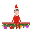 Christmas Elf vector cartoon cute character isolated on white background.