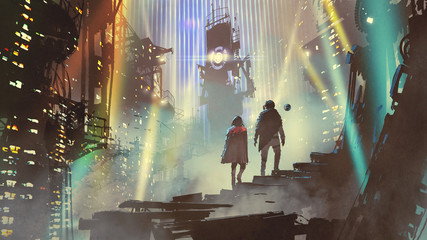 couple in the futuristic city at night with buildings and light beams, digital art style, illustration painting © grandfailure