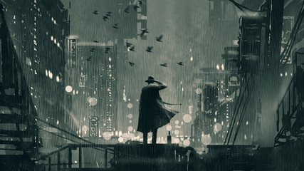 film noir concept showing the detective holding a gun to his head and standing on roof top at rainy night, digital art style, illustration painting © grandfailure