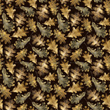 Seamless pattern with autumn golden leaves of oak. Hand drawn illustration with colored pencils. Botanical natural design for textiles, interior or some background. - 231212357
